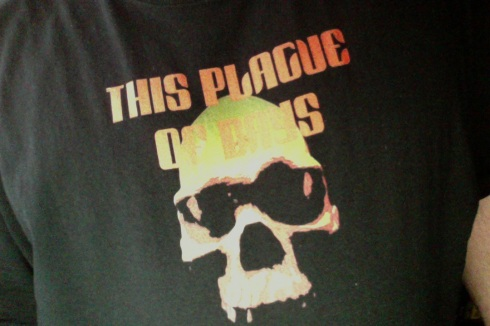 The first This Plague of Days t-shirt! Creepy, huh?